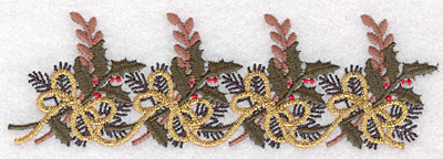 """Embroidery Design: Christmas decoration border 5.72""""w X 1.80""""h"""