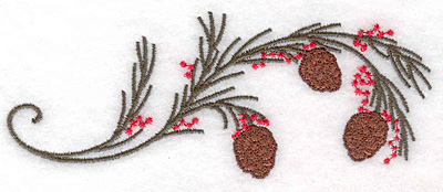 """Embroidery Design: Pine bough with cones and berries 5.00""""w X 2.00""""h"""