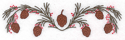 """Embroidery Design: Double pine bough 7.00""""w X 2.00""""h"""