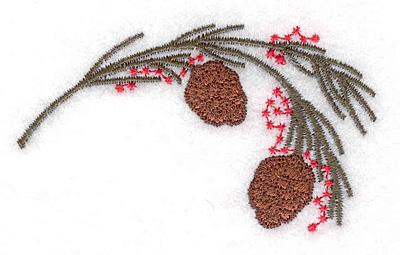 "Embroidery Design: Pine bough small 1.89""w X 1.70""h"