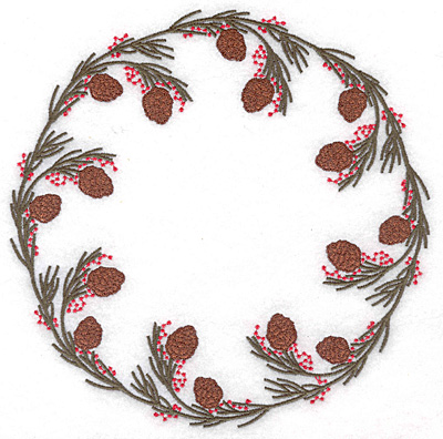 """Embroidery Design: Circle of pine boughs 6.98""""w X 6.98""""h"""