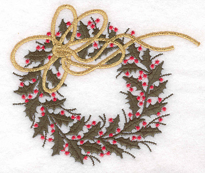 """Embroidery Design: Holly wreath large 5.00""""w X 4.29""""h"""