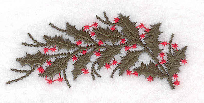 """Embroidery Design: Holly bough 2.48""""w X 1.08""""h"""