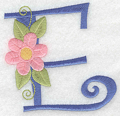 Embroidery Design: E large 3.61w X 3.55h