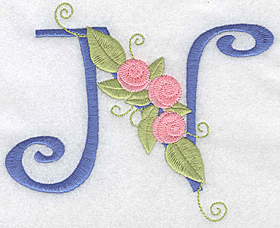 Embroidery Design: N large 5.53w X 4.46h