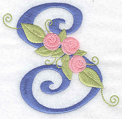 Embroidery Design: S large 3.67w X 3.57h