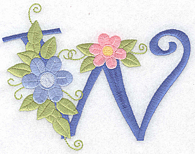 Embroidery Design: W large 5.75w X 4.48h