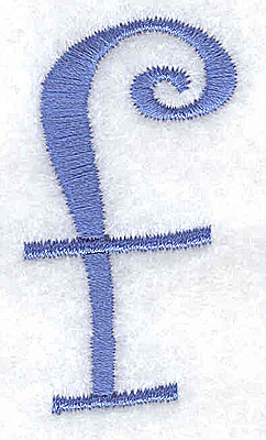 Embroidery Design: f lower case 1.04w Z 1.99h