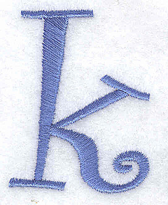 Embroidery Design: k lower case 1.53w X 2.01h