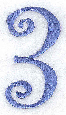 Embroidery Design: 3 number 1.11w X 2.03h