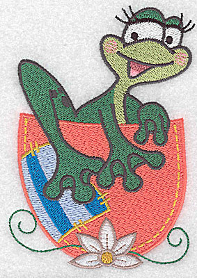Embroidery Design: Frog climbing out of cup large 3.44w X 4.96h