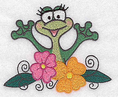 Embroidery Design: Frog amid flowers small 3.81w X 3.16h