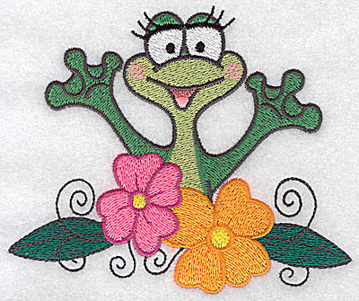 Embroidery Design: Frog amid flowers large 4.91w X 4.08h