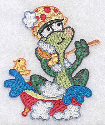 Embroidery Design: Frog in bathtub small 3.21w X 3.84h
