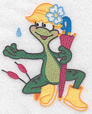 Embroidery Design: Frog wearing rainhat large 4.13w X 4.95h