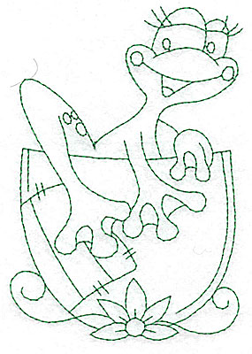 Embroidery Design: Frog climbing out of cup outlines  3.42w X 4.98h