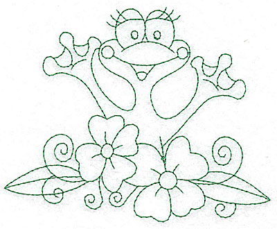 Embroidery Design: Frog amid flowers outlines 4.96w X 4.03h
