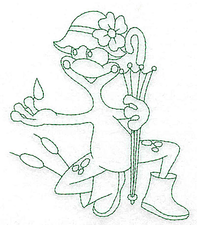 Embroidery Design: Frog in rainhat outlines 4.13w X 4.95h