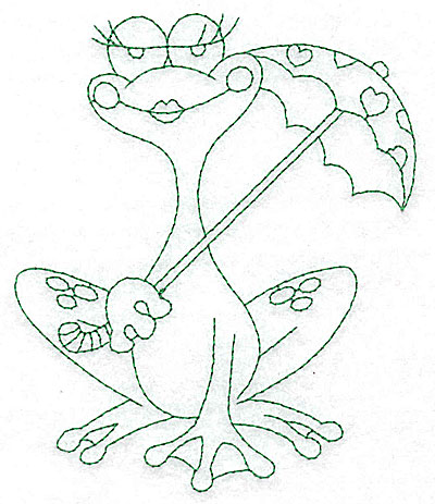 Embroidery Design: Frog with umbrella outlines 4.16w X 4.96h