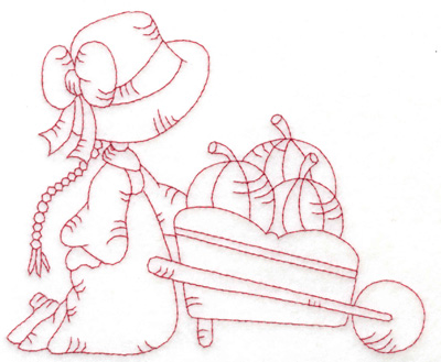 Embroidery Design: Girl with wheelbarrow large 6.01w X 4.99h