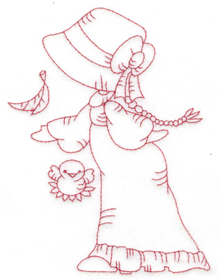 Embroidery Design: Girl with bird large 4.53w X 6.04h