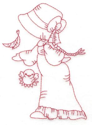 Embroidery Design: Girl with bird medium 3.63w X 4.84h