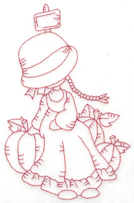 Embroidery Design: Girl with pumpkins large 3.87w X 6.05h