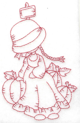 Embroidery Design: Girl with pumpkins medium 3.10w X 4.84h