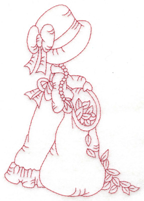 Embroidery Design: Girl with leaf bag large 4.25w X 6.03h