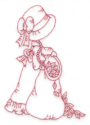 Embroidery Design: Girl with leaf bag small 2.70w X 3.83h