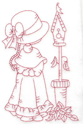 Embroidery Design: Girl with birdhouse large 3.80w X 6.02h