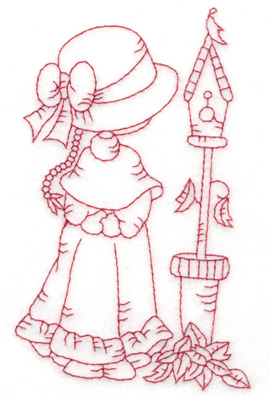 Embroidery Design: Girl with birdhouse medium 3.04w X 4.81h