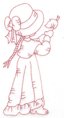 Embroidery Design: Girl catching leaf large 2.96w X 6.05h