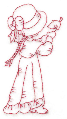 Embroidery Design: Girl catching leaf small 1.88w X 3.84h
