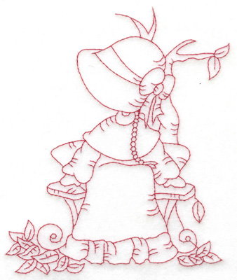 Embroidery Design: Girl at bench large 4.98w X 6.02h