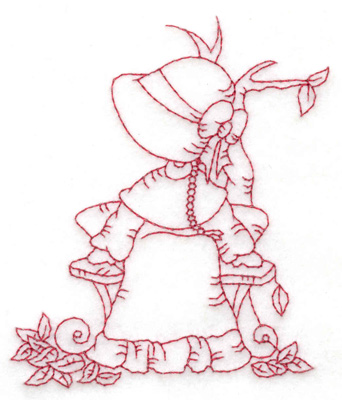 Embroidery Design: Girl at bench small 3.24w X 3.85h