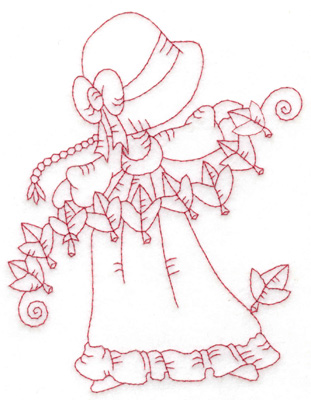Embroidery Design: Girl stringing leaves large 4.61w X 6.03h