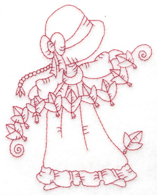 Embroidery Design: Girl stringing leaves medium 3.69w X 4.83h