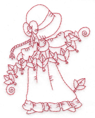 Embroidery Design: Girl stringing leaves small 2.95w X 3.86h