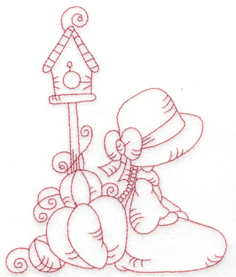 Embroidery Design: Girl kneeling with pumpkins large 4.96w X 6.04h