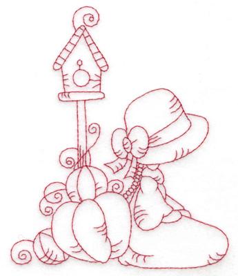 Embroidery Design: Girl kneeling with pumpkins medium 3.97w X 4.79h