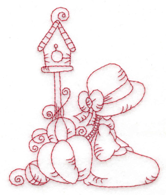 Embroidery Design: Girl kneeling with pumpkins small 3.17w X 3.83h