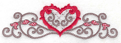 Embroidery Design: Floral Heart 101 small 4.99w X 1.53h
