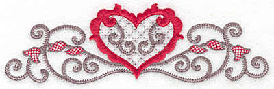 Embroidery Design: Floral Heart 102 large 6.98w X 2.14h