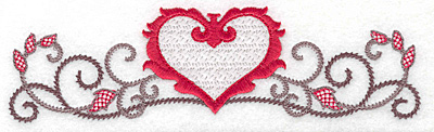 Embroidery Design: Floral Heart 103 small 6.93w X 1.95h