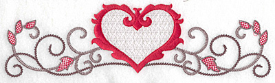 Embroidery Design: Floral Heart 104 large9.77w X 2.73h