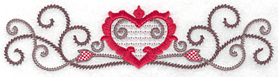 Embroidery Design: Floral Heart 105 small 6.97w X 1.73w
