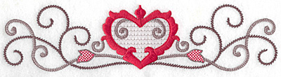 Embroidery Design: Floral Heart 106 large 9.72w X 2.40h