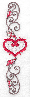 Embroidery Design: Floral Heart 107 vertical 1.87w X 6.97h