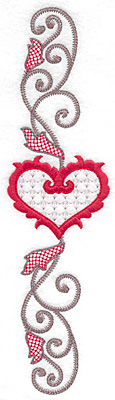 Embroidery Design: Floral Heart 108 horizontal9.75w X 2.62h